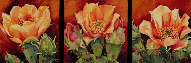 Paintings of Cactus Flowers | No bloom has as dramatic a contrast as the prickly pear. This triptych ...