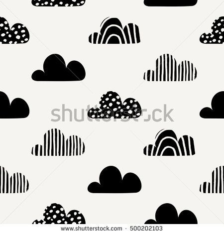 Seamless repeating pattern with black cloud shapes on cream background. Cute and modern wrapping paper, poster, textile, greeting card design.