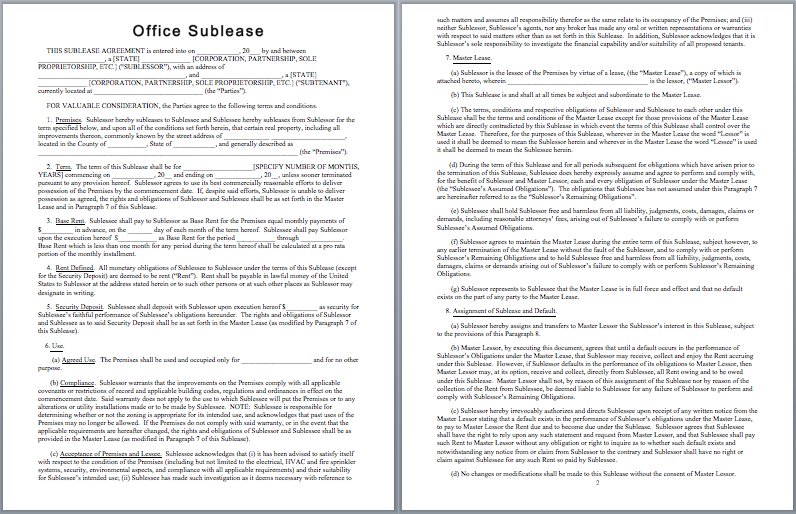 Office Sublease Agreement Template Templates – Sample Sublease Agreement