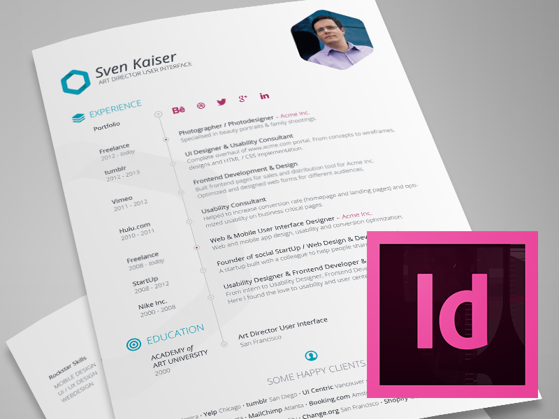Indesign Template  Free Hexagon VitaResumeCv  Indesign