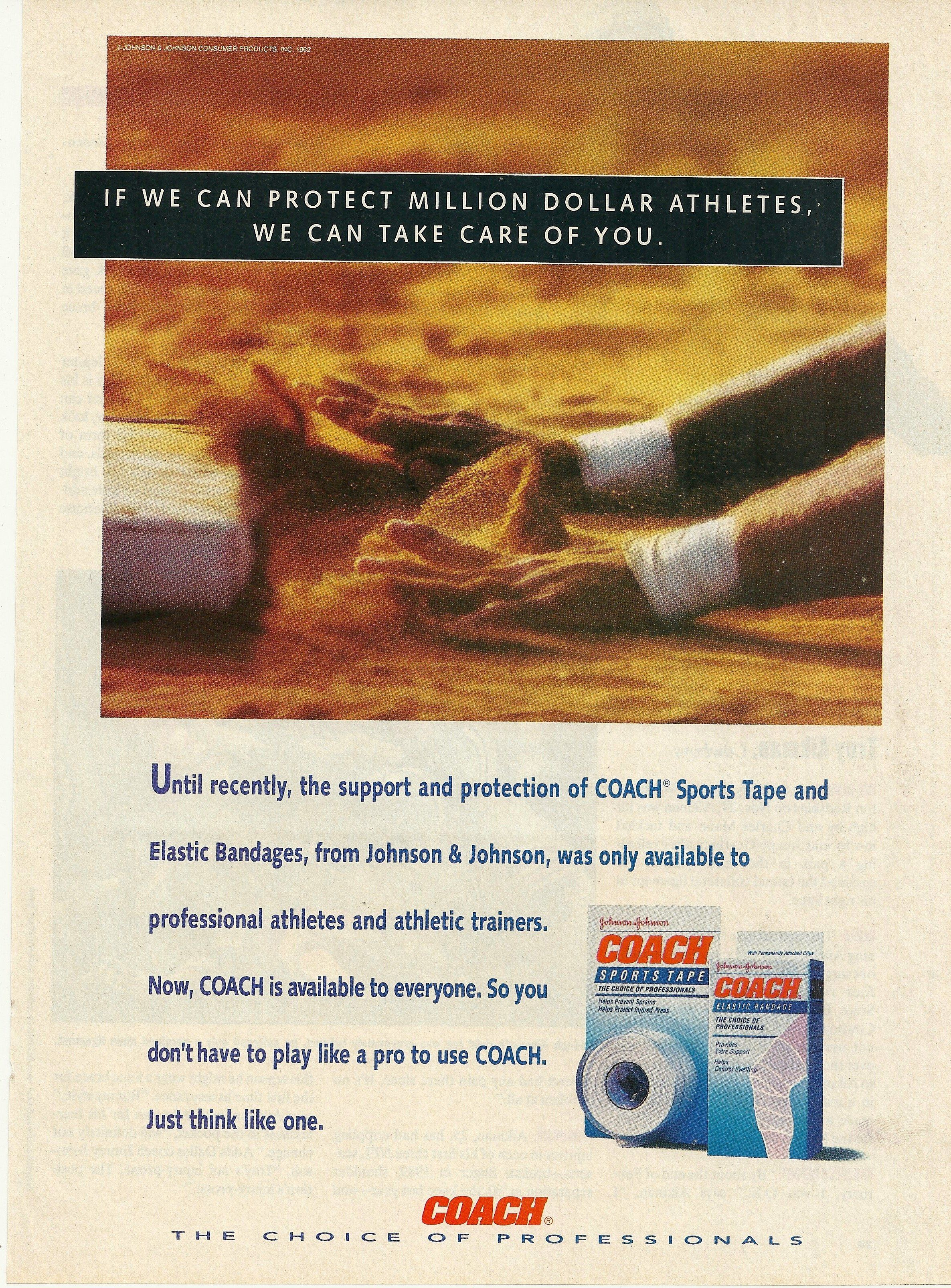 1992 Coach Sports Tape Bandages Vintage Print Ad Sports Tape Sports Coach Print Ads
