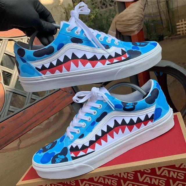 Blue Bape Vans Old Skool by Shoewhiz | Vans old skool custom ...