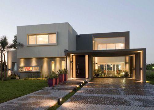 Casas modernas entrada garage buscar con google home - Casas con chimeneas modernas ...