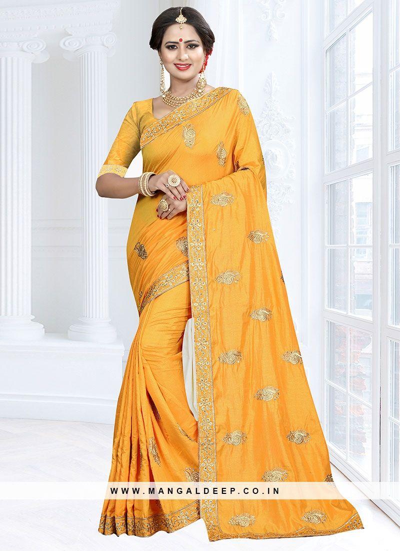 b5ea35770f669 Tempting Yellow Color Function Wear Designer Saree  yellow  partywear   designersaree  stonework  zari
