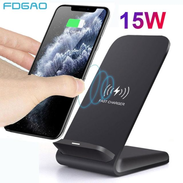 15w Qi Wireless Charger Stand For Iphone 11 Pro X Xs Max Xr 8 Samsung S10 S9 Note 10 9 Fast In 2020 Wireless Charger Charger Stand Samsung