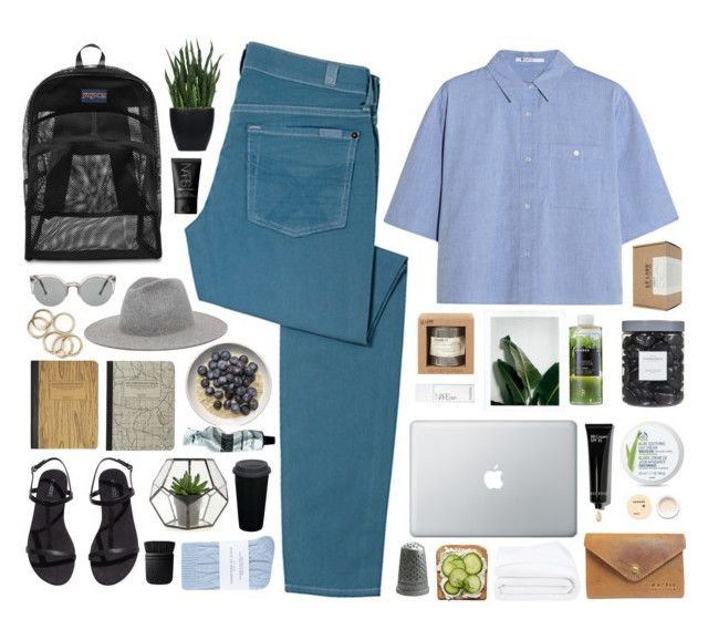 """""""III"""" by vera-ush ❤ liked on Polyvore featuring Lux-Art Silks, 7 For All Mankind, T By Alexander Wang, JanSport, Bobbi Brown Cosmetics, Le Labo, H&M, NARS Cosmetics, Frette and Johnstons"""