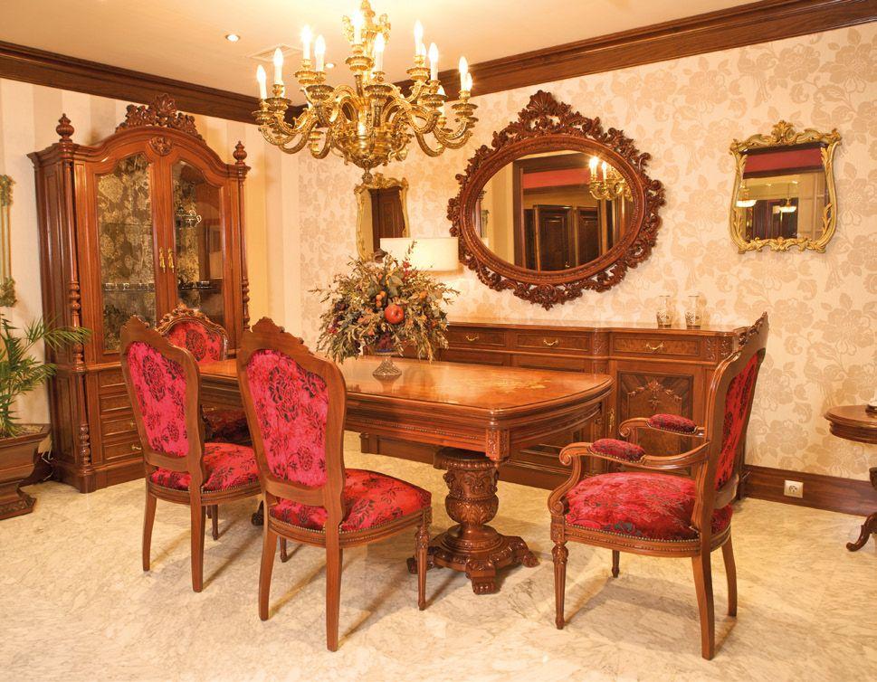 Comedor caoba estilo clásico. mobiliario madera de lujo diseño ...