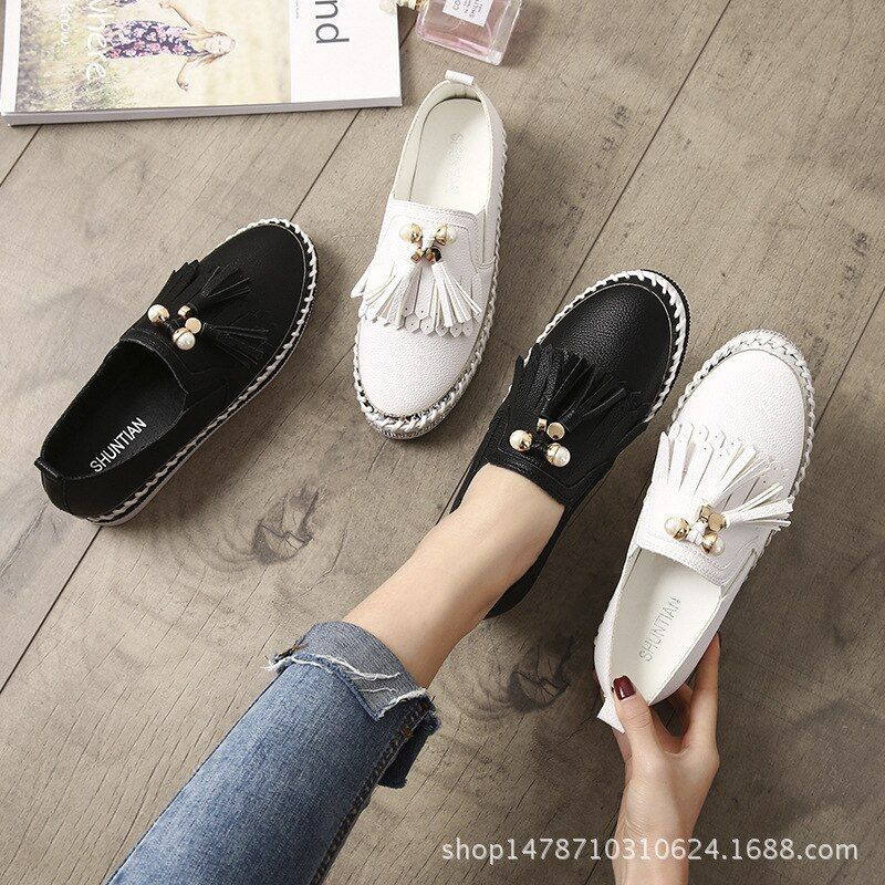 Microfiber Crystal Flat Loafers Woman Pearl Tassel Decorate Microfiber Crystal Flat Loafers Wom Leather Shoes Woman Loafers For Women Slip On Espadrilles