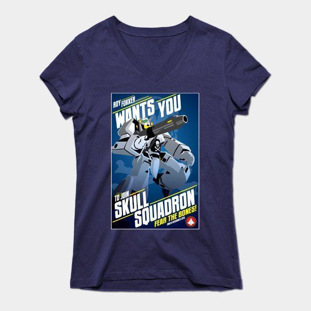 Join Skull Squadron! Womens V-Neck T-Shirt