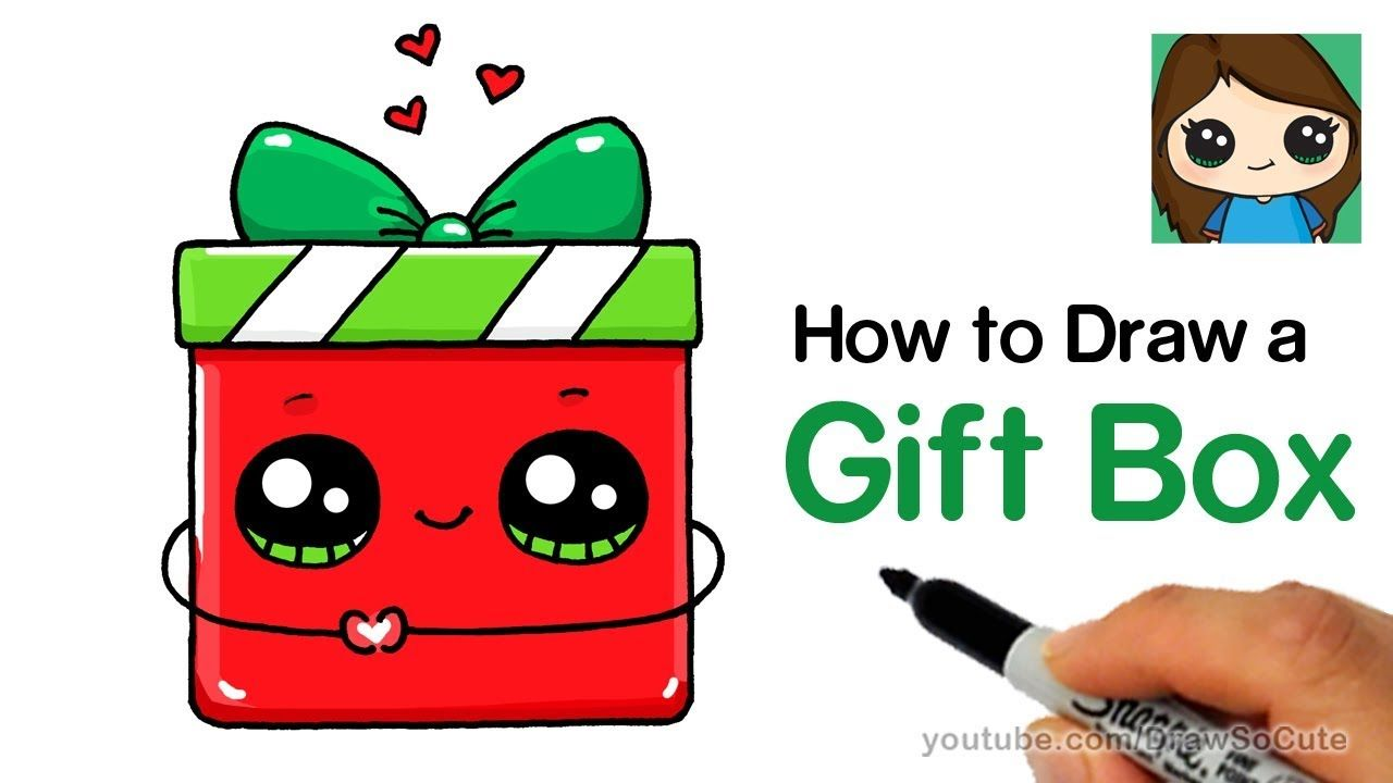 How To Draw A Gift Box Present Easy Christmas Holiday Youtube Christmas Gift Drawing Gift Drawing Cute Drawings