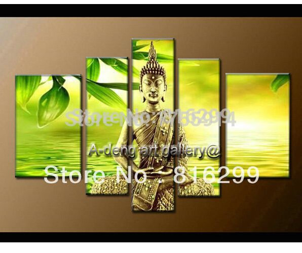 100% Handpainted High End Large Pictures Feng Shui Buddha oil ...