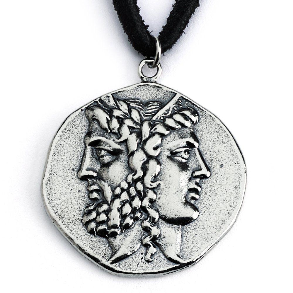 sterling silver replica janiform head of zeus and hera greek  -  sterling silver replica janiform head of zeus and hera greek coinpendant necklace janiform