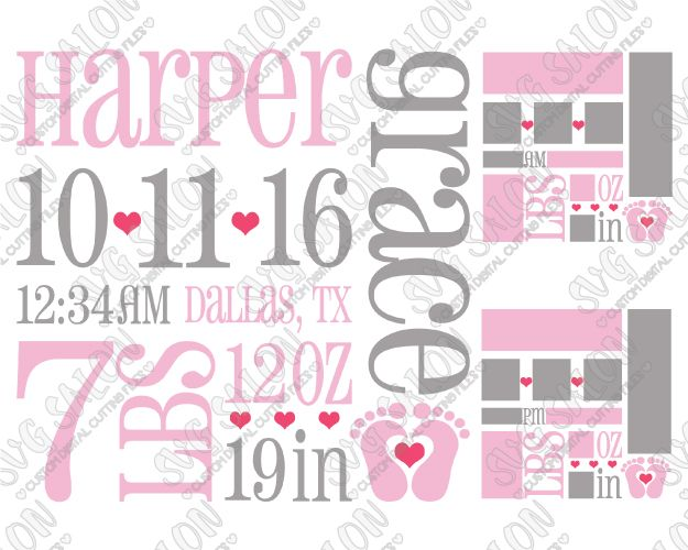 baby girl birth announcement template cut file in svg eps and dxf
