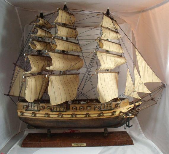 Antique Model Wooden Ship Consution