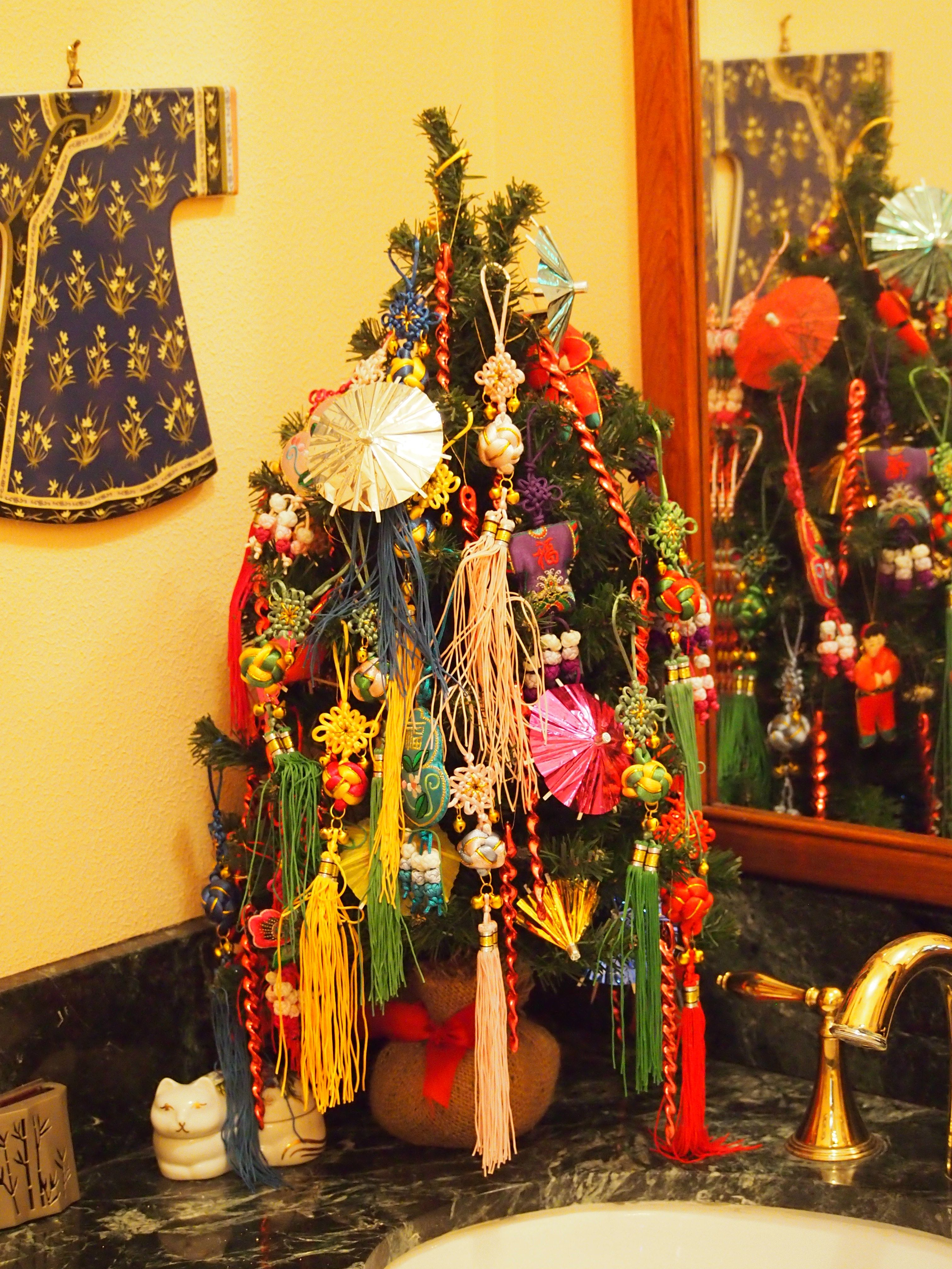 My Asian Christmas tree in bath off foyer Some ornaments I bought