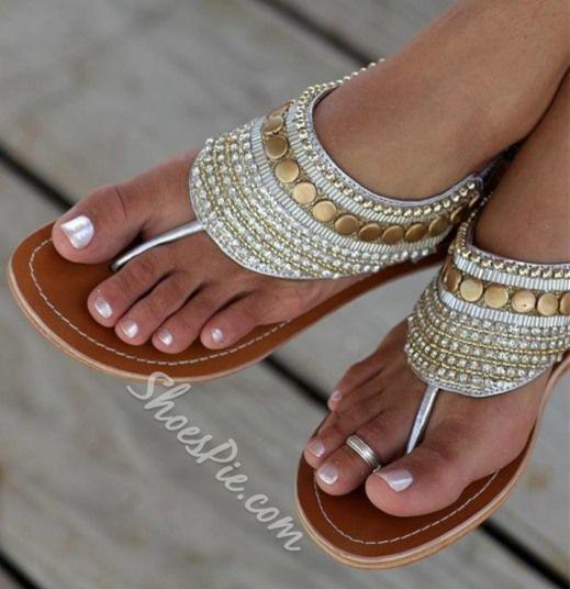 Dazzling Rhinestone Sequin Flat Sandals