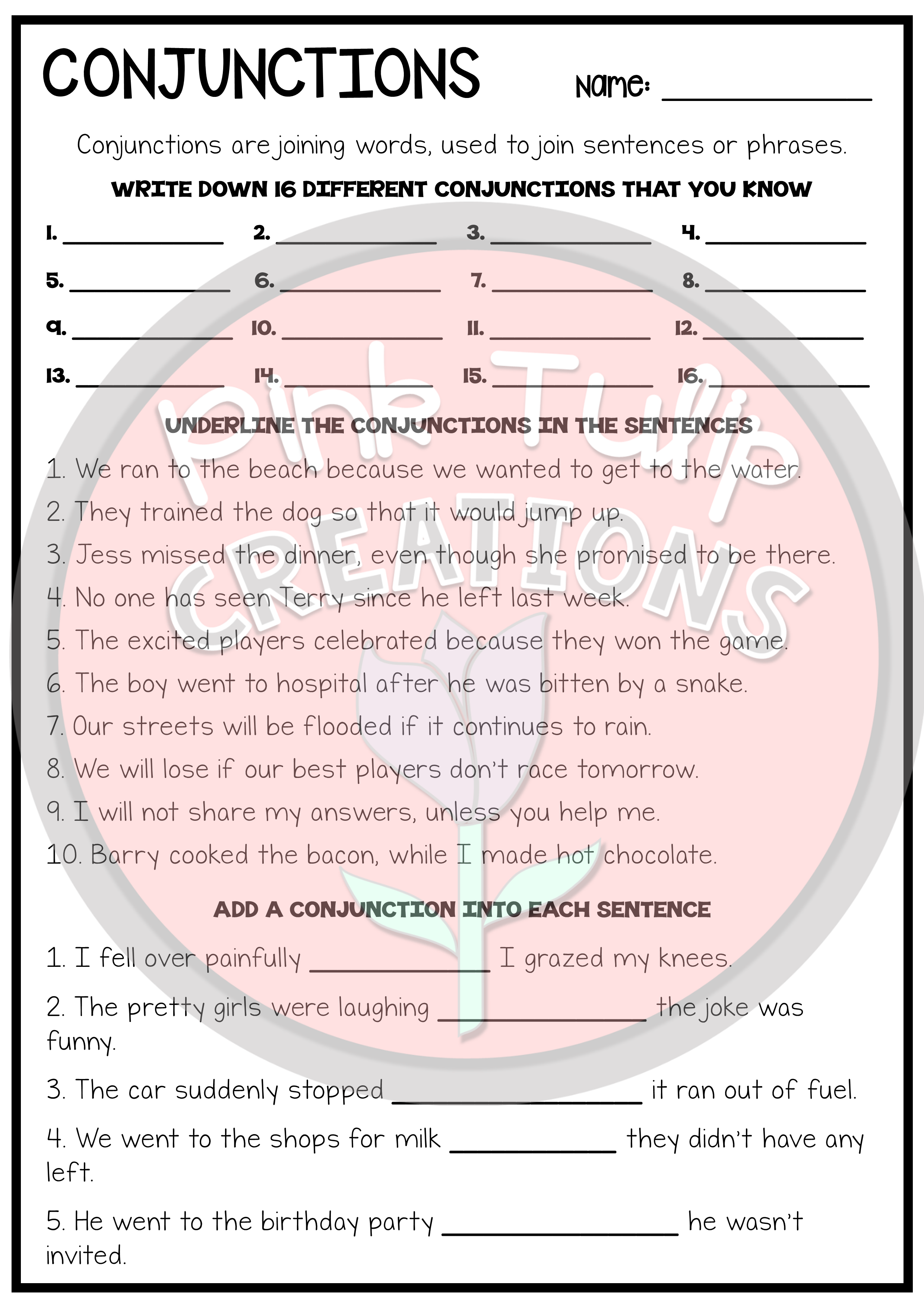 Using Conjunctions Worksheet   Printable Worksheets and Activities for  Teachers [ 3508 x 2480 Pixel ]