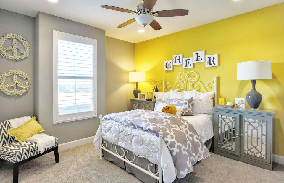 Cute Girl S Bedroom With Yellow Gray Color Scheme Yellow Bedroom Decor Girls Bedroom Colors Yellow Bedroom Walls