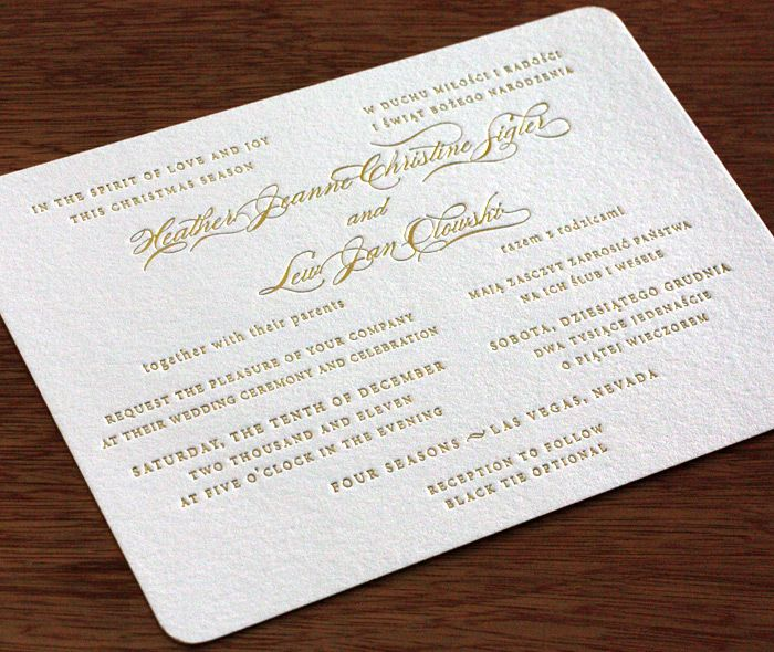 Sonja Letterpress Wedding Invitation   Simple Invitation With Gold Foil Ink  And Round Corners