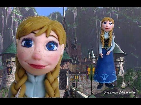 Fondant Disney Anna Frozen Cake Topper - Anna in Pasta di zucchero per torta - YouTube