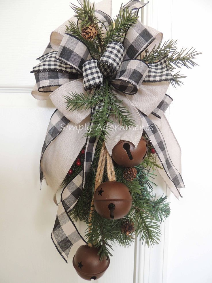 Farmhouse Christmas Wreath Bow, Christmas Farmhouse Wreath