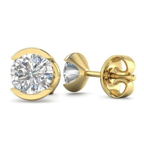 c61a0145f8c 14k Bezel Set Yellow Gold Diamond Stud Earrings - 2.00 carat D-SI1 ...
