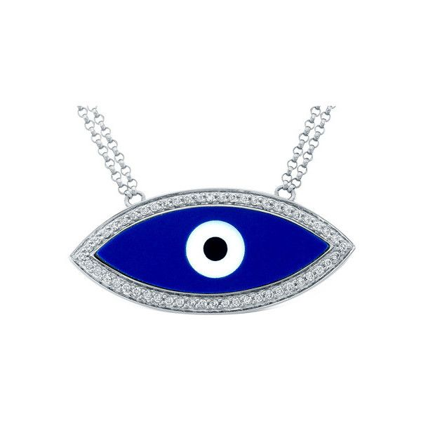Mystic Light White Gold Evil Eye Diamond Necklace (£1,015) ❤ liked on Polyvore featuring jewelry, necklaces, blue necklace, diamond evil eye necklace, white gold diamond necklace, evil eye pendant and blue diamond pendant