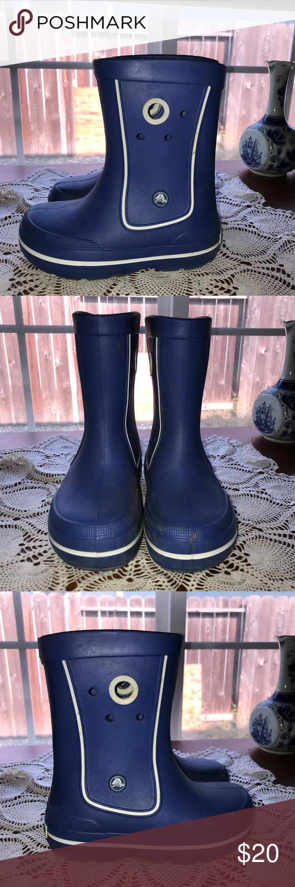 4bfefbbf198 Crocs Crocband Jaunt rain boots blue J 2 100% Authentic Kids CROCS Crocband  Jaunt Rain Boot Galoshes Shoes Size: J2 Color: Cerulean Blue Totally  waterproof ...