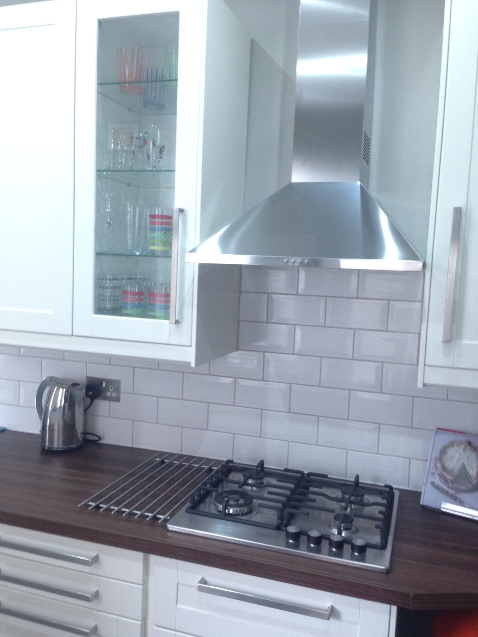 White metro tiles with gunmetal grey grout from tops tiles ...