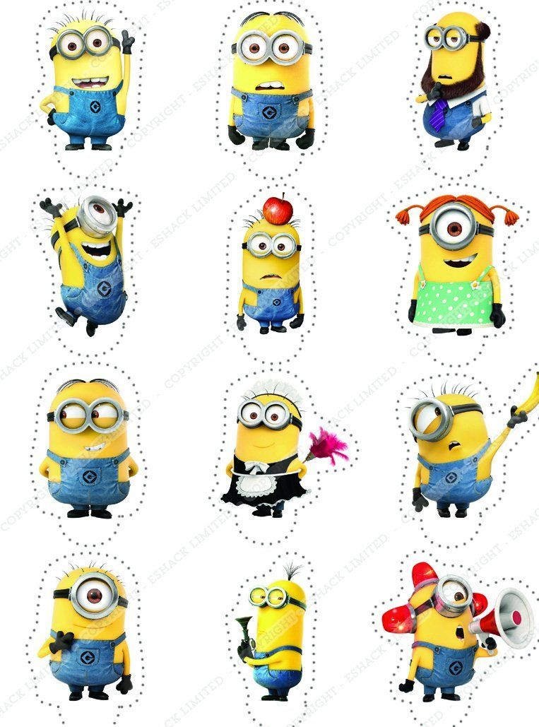 Cakeshop 12 x PRECUT Despicable Me Minions Stand Up Edible Cake