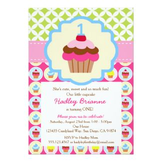 Cupcake Birthday Party Invitation Wording