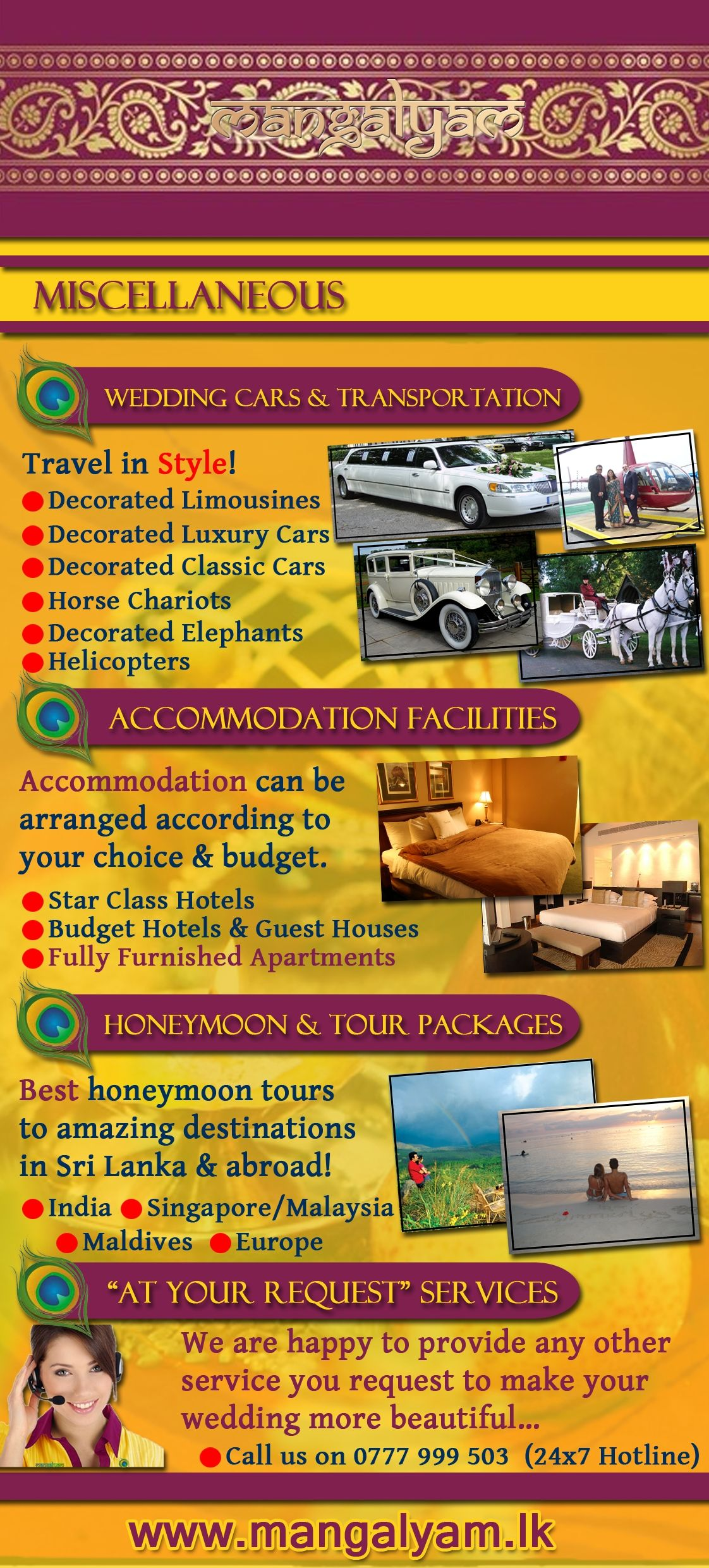 Mangalyam Brochure Wedding Cars Transport Accommodation Honeymoon Packages