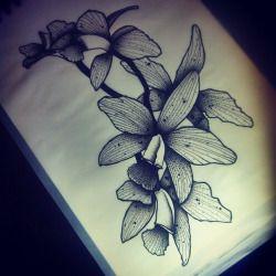 Guet Orchid Tattoo Dot Work Tattoo Deep Tattoo