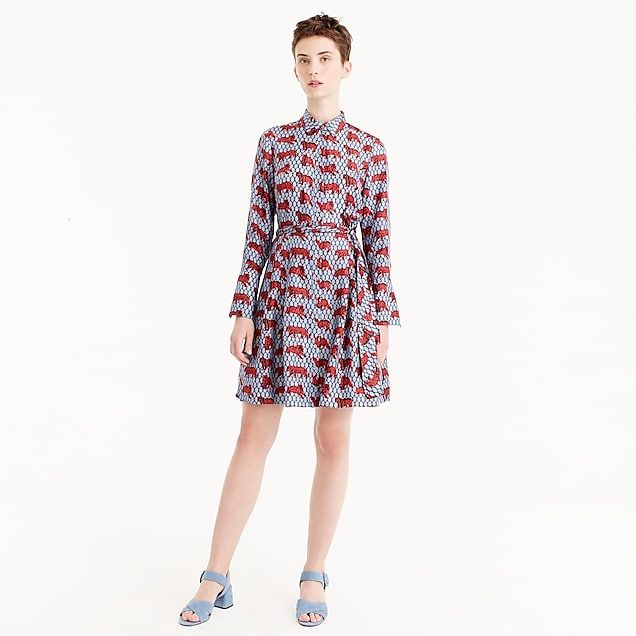6ed12dacd0cd5 BLUE SHOES  ) collection silk twill shirtdress in roaming tiger print   women  shirt dress