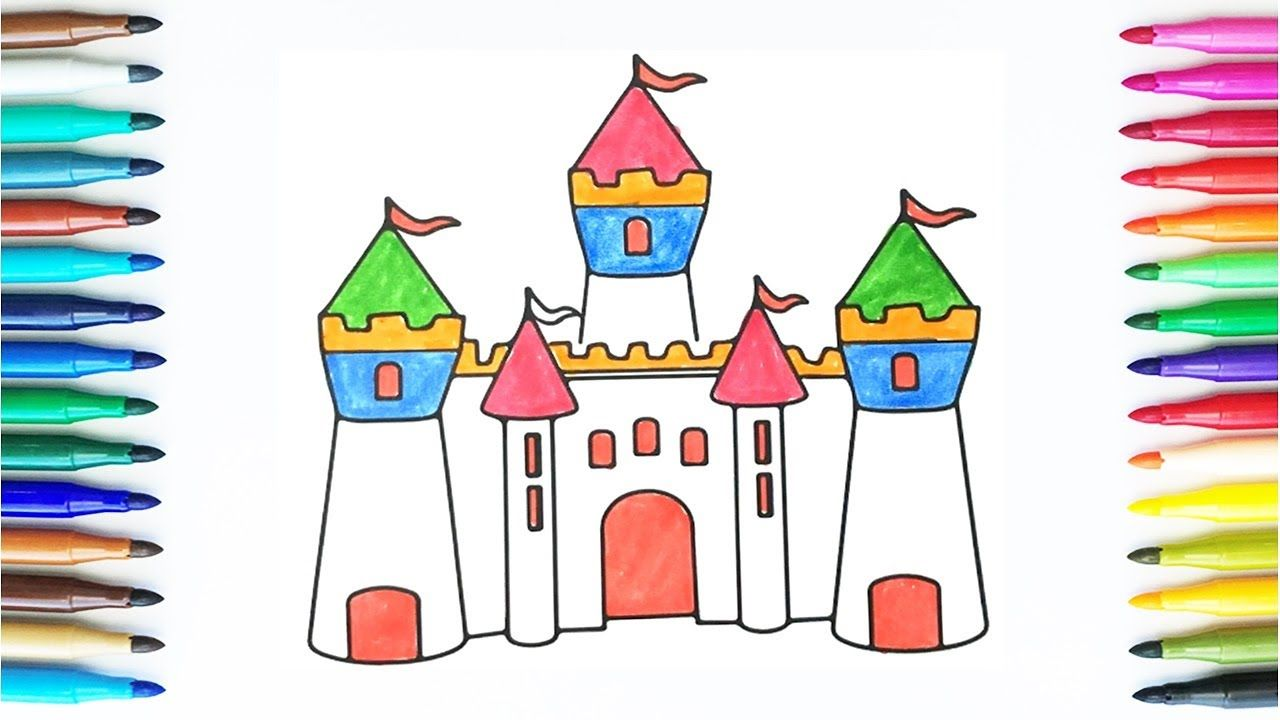 How To Draw And Color Castle Drawing And Colours For Children S With C Castle Drawing Marker Art Flower Drawing