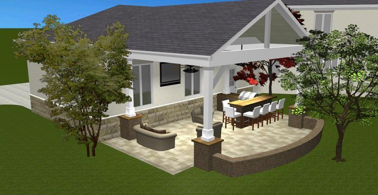 backyard+covered+patios+and+decks | Notice how the hardscape seating wall will tie the entire space ...