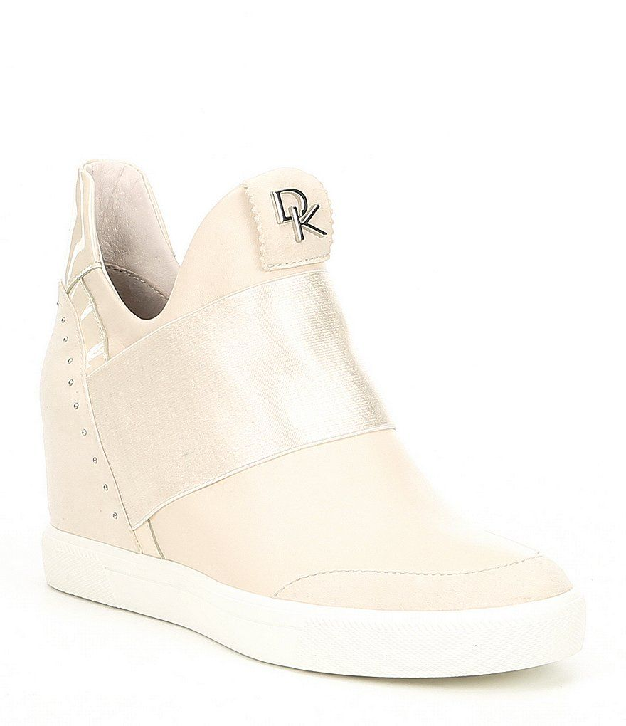 cdb69ce9aecd Donna Karan Cailin Hidden Leather Wedge Sneakers