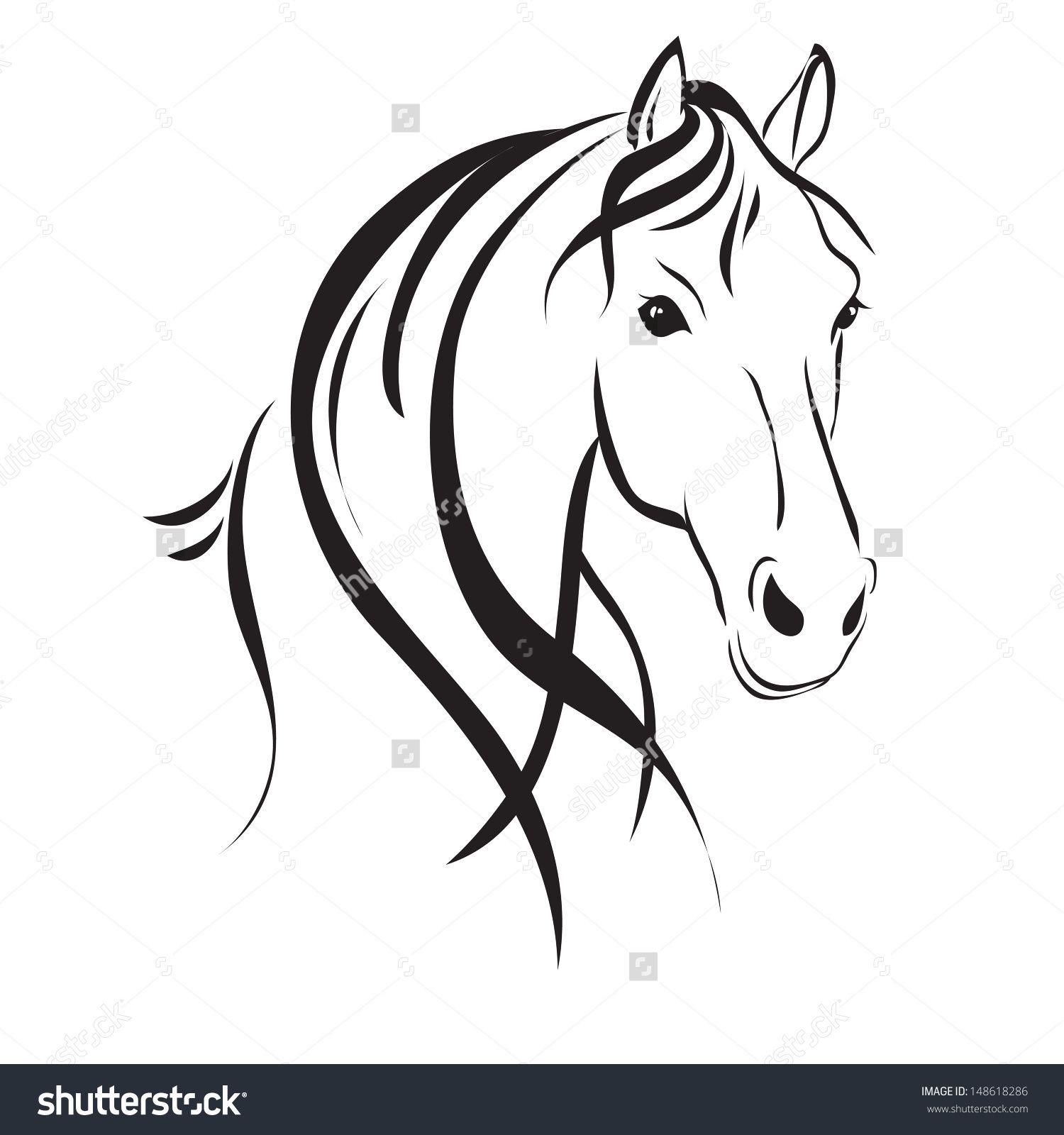 линия рисунок лошади , с головы на белом фоне | Силуэт | Pinterest ...