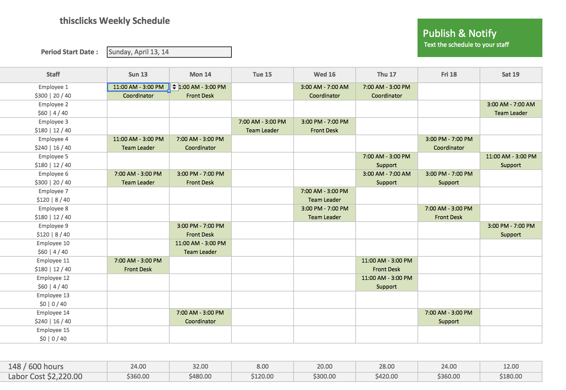 work schedule format in excel