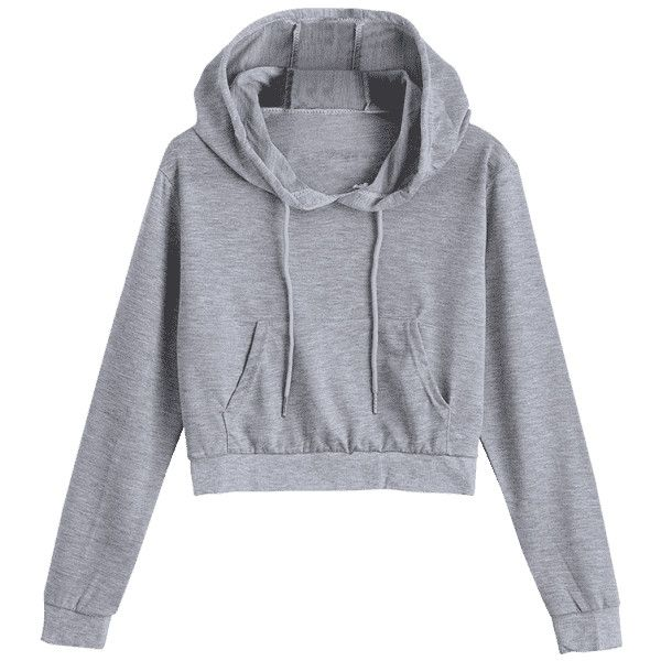 38db0da509e2e4 Front Pocket Drawstring Crop Hoodie ( 16) ❤ liked on Polyvore featuring  tops