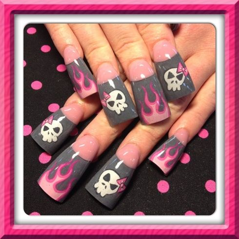 Acrylic nail designs - Most Wanted! Skull And Flame Nail Art Nails Design Pinterest