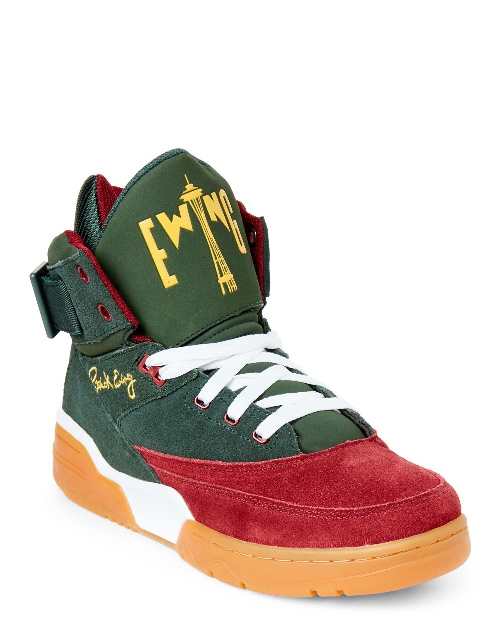 6ad214790dad Patrick Ewing Green   Maroon Ewing 33 High Top Sneakers