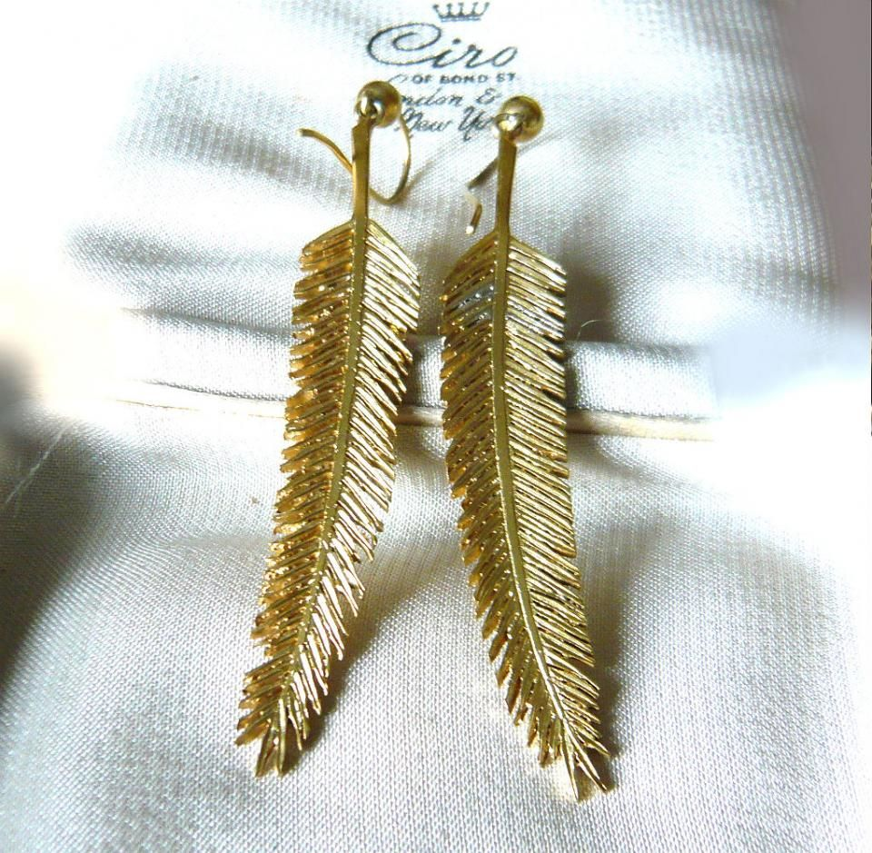 Eva Antiques - Silver Gilt Palm Leaf Earrings. #antiques #jewellery #earrings #BlackFriday. Come and make a deal!