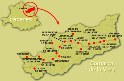 Mapa De Extremadura Comarcas.2 Mapa De La Comarca De La Vera Espana Spain En