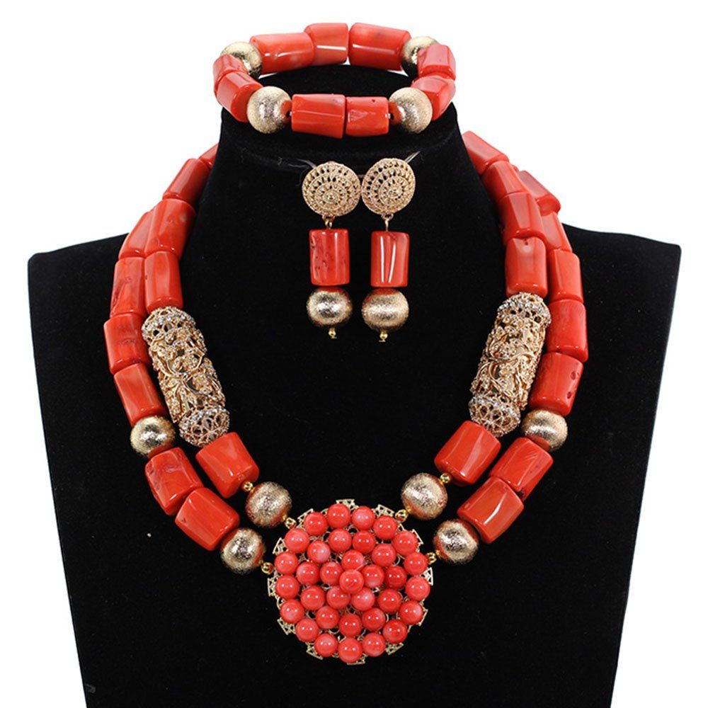 Latest Chunky Coral African Wedding Jewelry Sets Gold