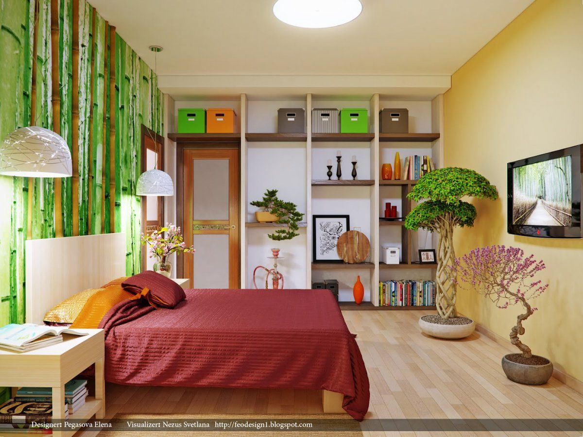 Pretty Chinese Bamboo Wall Treatment For Contemporary Bedroom With Natural Bonsai Tree Decor Ideas Decoration