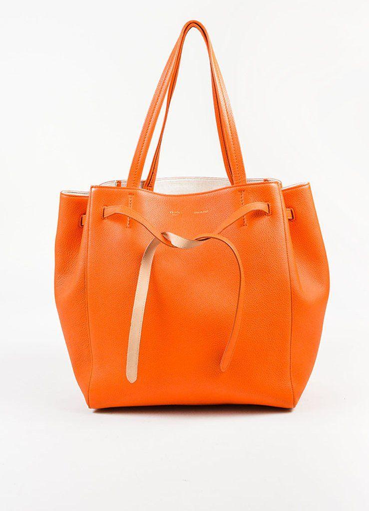 "Celine Orange Pebbled Leather Small ""Phantom Cabas"" Tie Tote Bag"