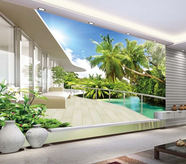 papier peint photo trompe l 39 il effet 3d paysage tropical avec les cocotiers extension d. Black Bedroom Furniture Sets. Home Design Ideas