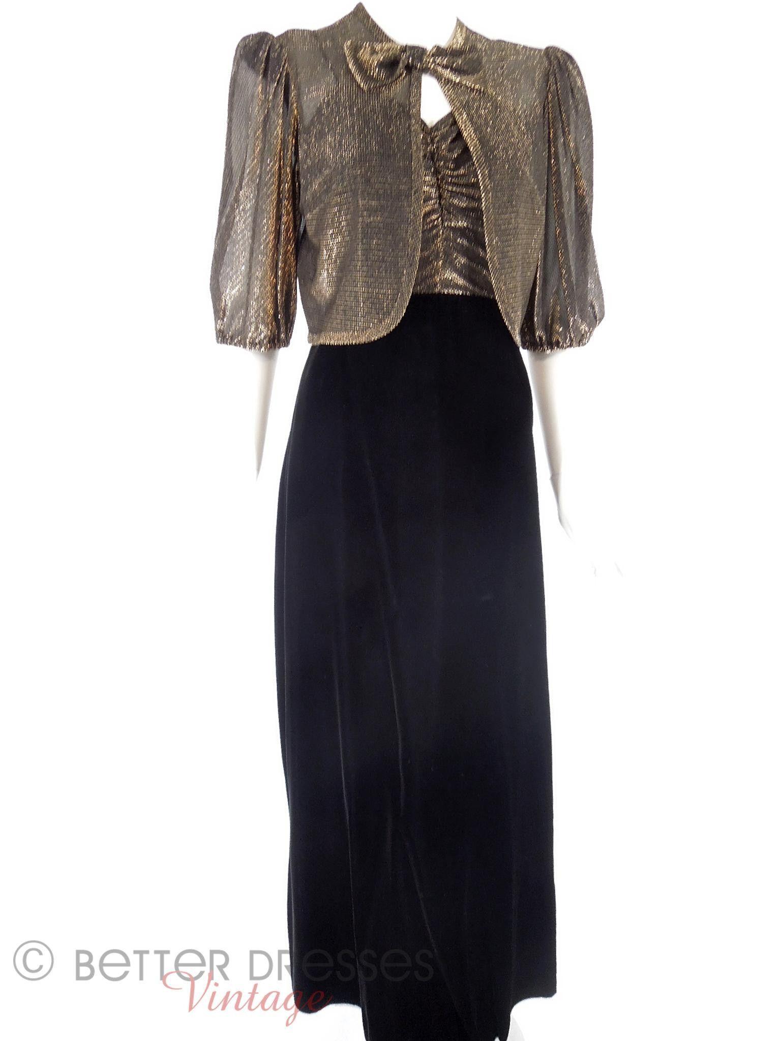 70s Black Velvet and Gold Metallic Gown & Jacket Set - sm ...