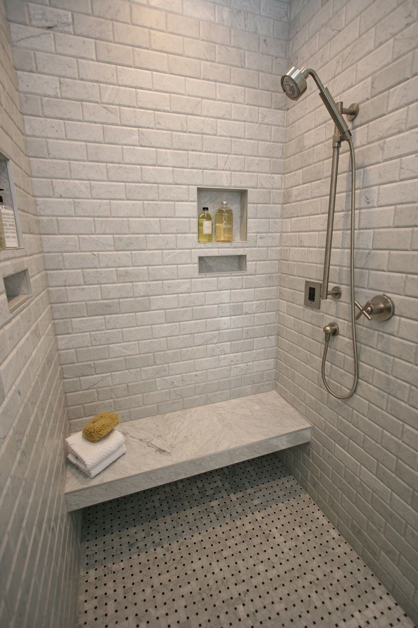 Mosaic Monday Features An Awesome Installation Of Our Bianco Gioia Beveled And Our Pinwheel Mosaic As The Floor Tile Shower Tile Emser Tile Bathrooms Remodel